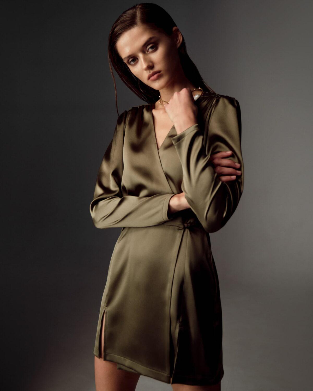 Elsa Silk Olive Dress