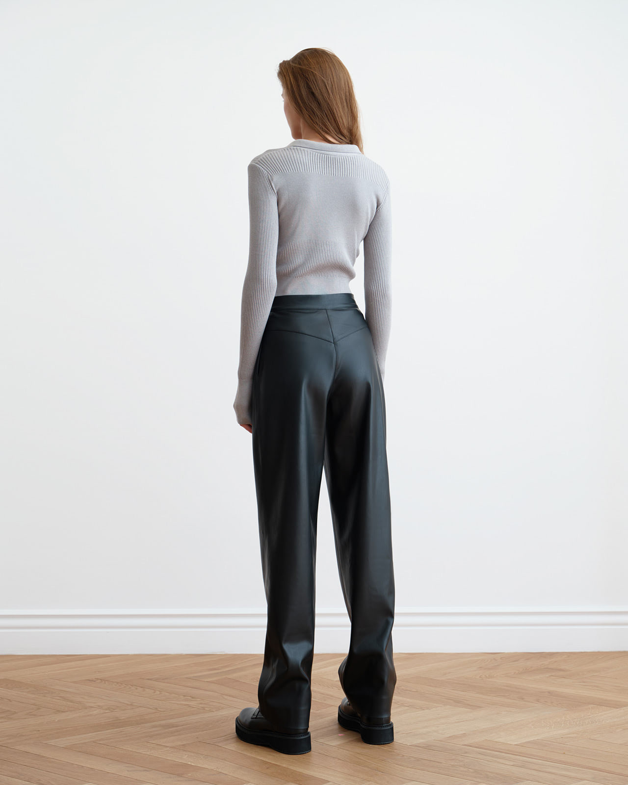 Black soft eco-leather trousers