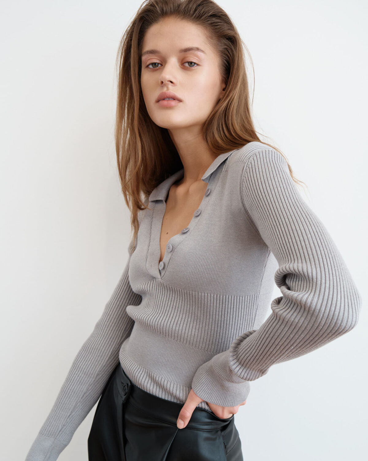 Knitted Grey Polo