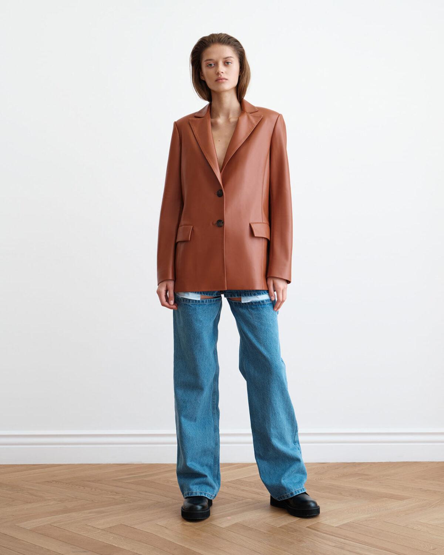 terracotta soft eco-leather single-breasted jacket