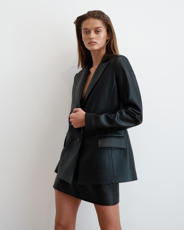 Black soft eco-leather single-breasted jacket